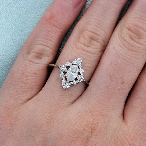 Vintage Style Marquise Diamond Engagement Ring Image 4 Fox Fine Jewelry Ventura, CA