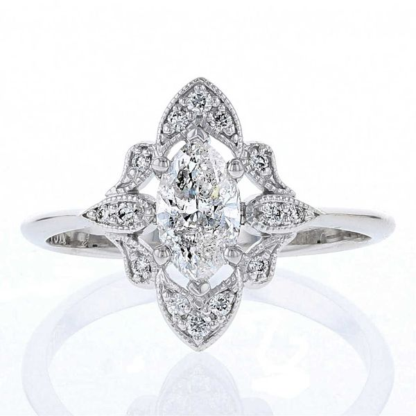 Vintage Style Marquise Diamond Engagement Ring Fox Fine Jewelry Ventura, CA