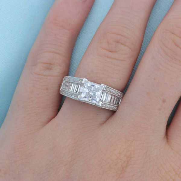 Baguette Side Diamond Engagement Ring Image 4 Fox Fine Jewelry Ventura, CA