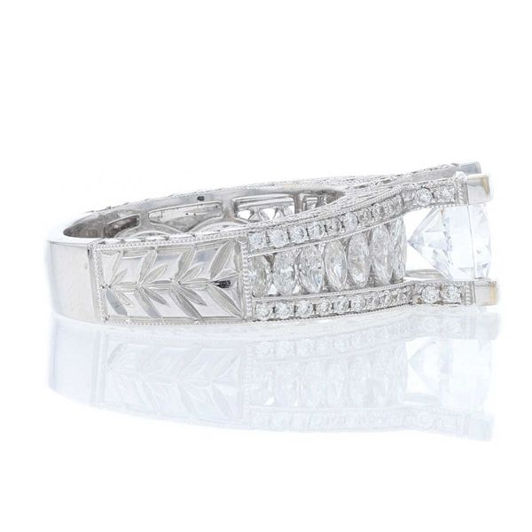 Marquise Side Diamond Engagement Ring Image 3 Fox Fine Jewelry Ventura, CA
