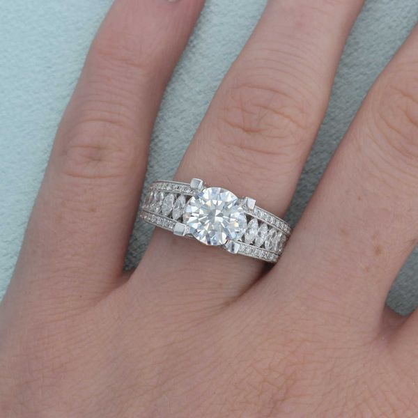 Marquise Side Diamond Engagement Ring Image 5 Fox Fine Jewelry Ventura, CA