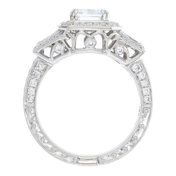 Diamond Milgrain Halo Engagement Ring Image 3 Fox Fine Jewelry Ventura, CA