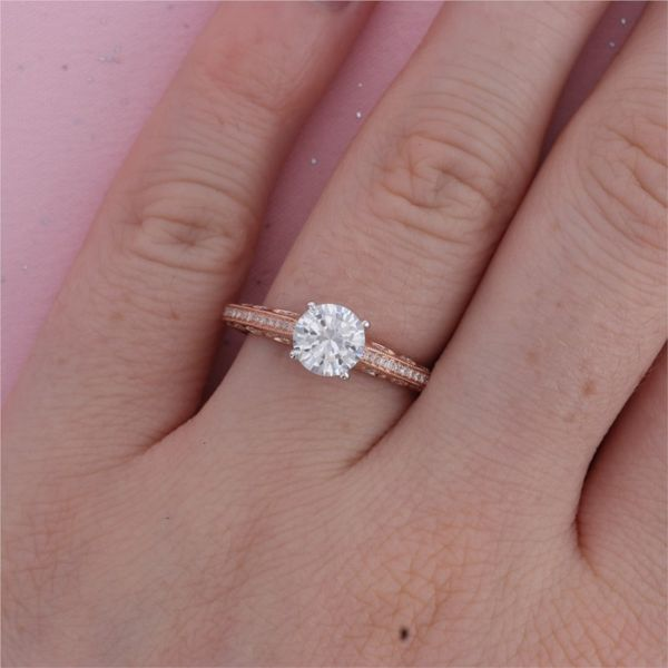 Rose Gold Diamond Peekaboo Engagement Ring Image 4 Fox Fine Jewelry Ventura, CA