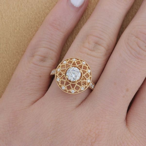 Yellow Gold Diamond Sun Engagement Ring Image 3 Fox Fine Jewelry Ventura, CA