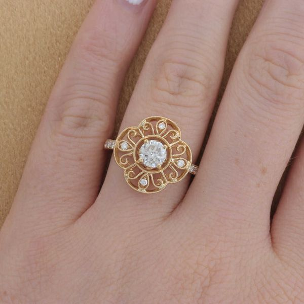 Yellow Gold Diamond Swirl Engagement Ring Image 4 Fox Fine Jewelry Ventura, CA