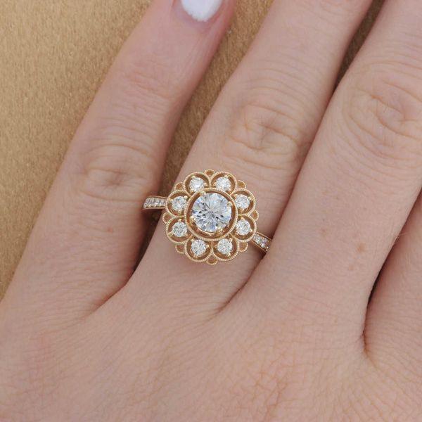 Yellow Gold Diamond Spaced Halo Engagement Ring Image 4 Fox Fine Jewelry Ventura, CA