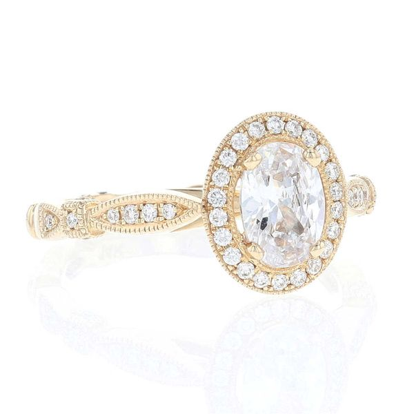 Yellow Gold Oval Diamond Halo Engagement Ring Image 2 Fox Fine Jewelry Ventura, CA