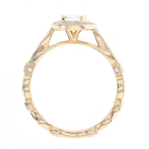 Yellow Gold Oval Diamond Halo Engagement Ring Image 3 Fox Fine Jewelry Ventura, CA