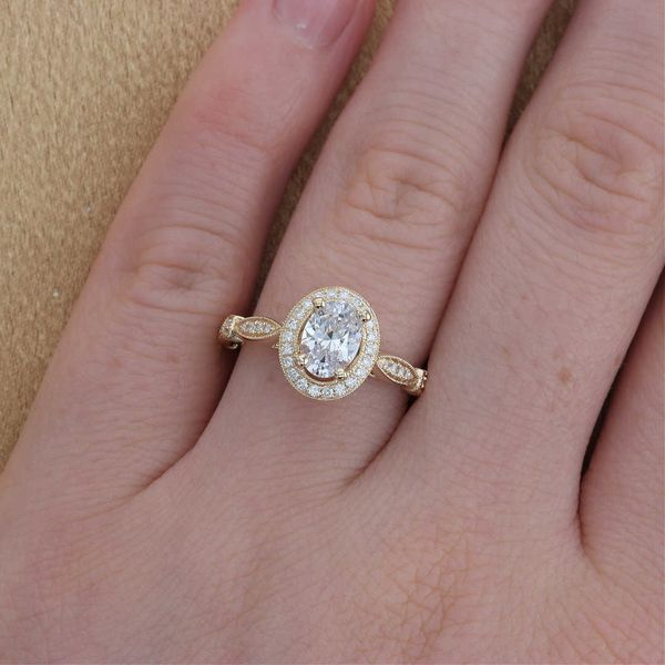 Yellow Gold Oval Diamond Halo Engagement Ring Image 4 Fox Fine Jewelry Ventura, CA