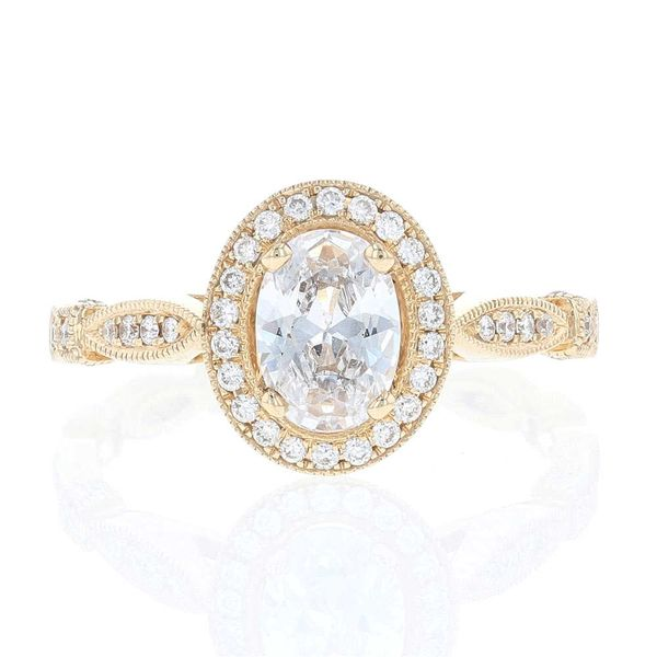 Yellow Gold Oval Diamond Halo Engagement Ring Fox Fine Jewelry Ventura, CA