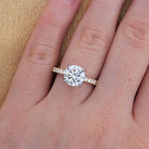 Two Tone Diamond Crown Engagement Ring Image 4 Fox Fine Jewelry Ventura, CA