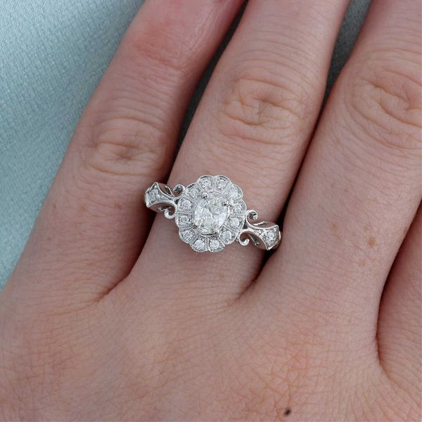 Oval Diamond Halo Milgrain Engagement Ring Image 4 Fox Fine Jewelry Ventura, CA