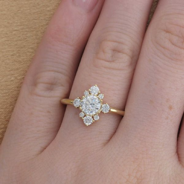 Yellow Gold Cluster Halo Engagement Ring Image 4 Fox Fine Jewelry Ventura, CA