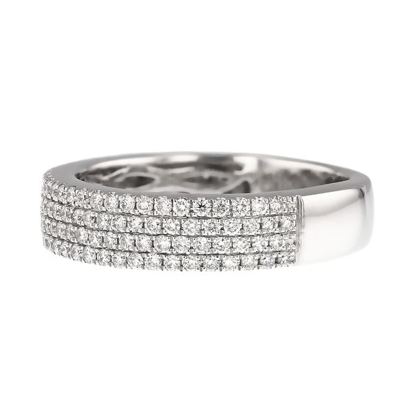 Four Row Pave Diamond Wedding Band Image 2 Fox Fine Jewelry Ventura, CA