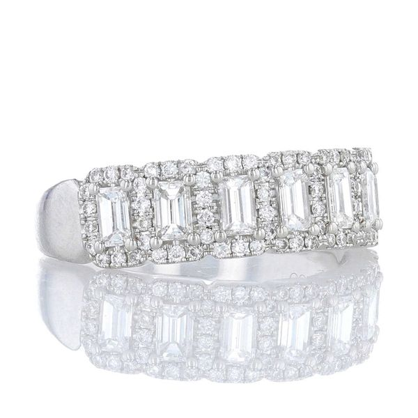 Multi Emerald Cut Halo Diamond Band Image 2 Fox Fine Jewelry Ventura, CA
