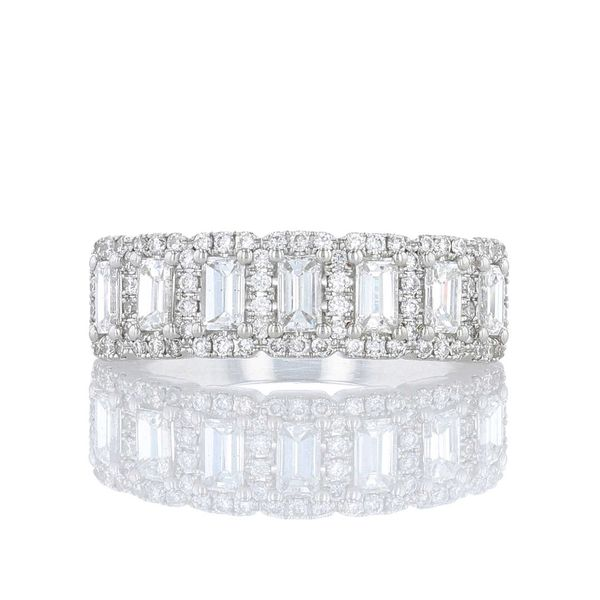 Multi Emerald Cut Halo Diamond Band Fox Fine Jewelry Ventura, CA