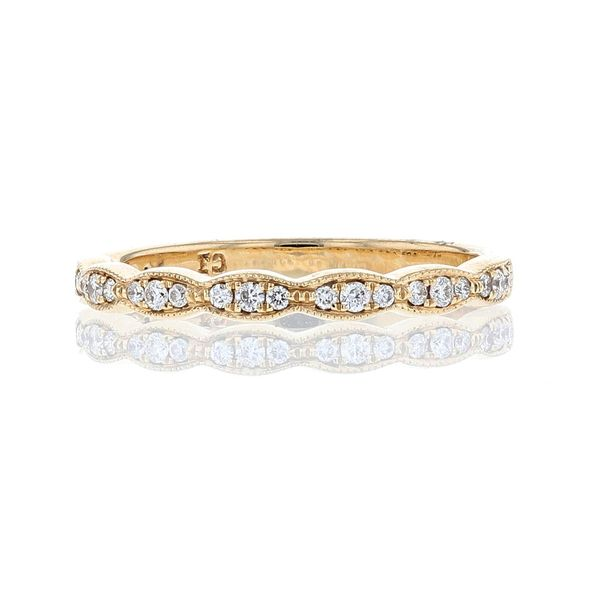 Yellow Gold Diamond Milgrain Scallop Band Fox Fine Jewelry Ventura, CA