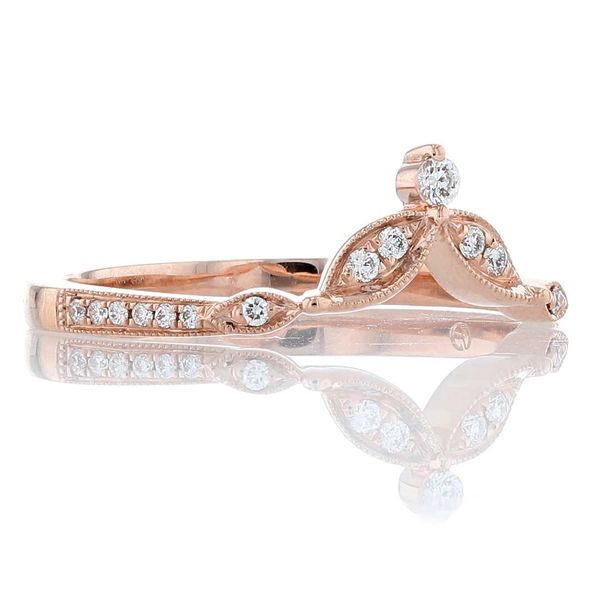 Rose Gold Diamond Tiara Milgrain Contour Band Image 2 Fox Fine Jewelry Ventura, CA