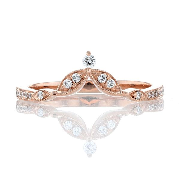 Rose Gold Diamond Tiara Milgrain Contour Band Fox Fine Jewelry Ventura, CA