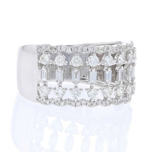 Round & Baguette Diamond Wide Band Image 2 Fox Fine Jewelry Ventura, CA