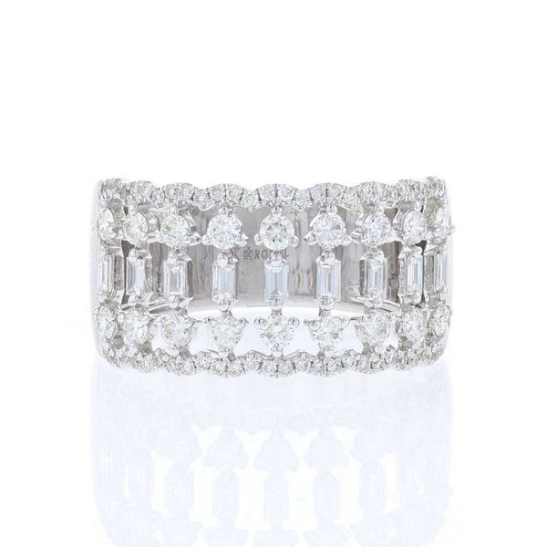 Round & Baguette Diamond Wide Band Fox Fine Jewelry Ventura, CA