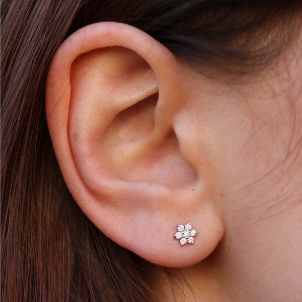 Diamond Cluster Flower Stud Earrings Image 2 Fox Fine Jewelry Ventura, CA
