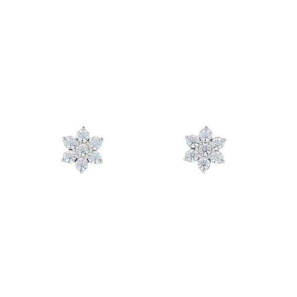 Diamond Cluster Flower Stud Earrings Fox Fine Jewelry Ventura, CA