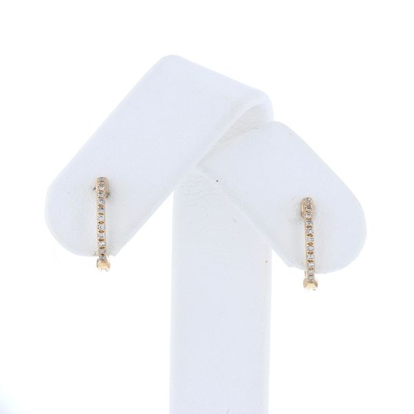 Yellow Gold Diamond Huggie Earrings Fox Fine Jewelry Ventura, CA