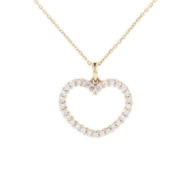 Yellow Gold Diamond Heart Pendant Fox Fine Jewelry Ventura, CA