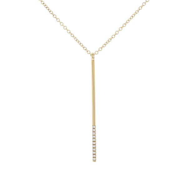 Yellow Gold Diamond Vertical Bar Necklace Fox Fine Jewelry Ventura, CA