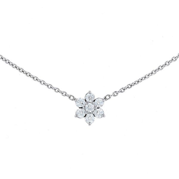 Petite Diamond Cluster Necklace Fox Fine Jewelry Ventura, CA