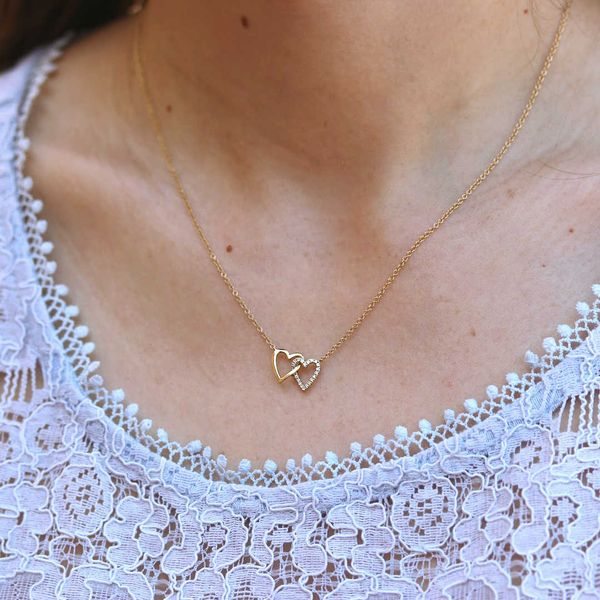 Interlocking Double Diamond Heart Necklace Image 2 Fox Fine Jewelry Ventura, CA