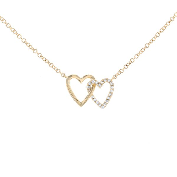 Interlocking Double Diamond Heart Necklace Fox Fine Jewelry Ventura, CA