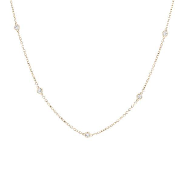 Bezel Set Diamond Station Necklace Fox Fine Jewelry Ventura, CA