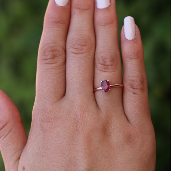 Rose Gold Oval Ruby Solitaire Ring Image 4 Fox Fine Jewelry Ventura, CA