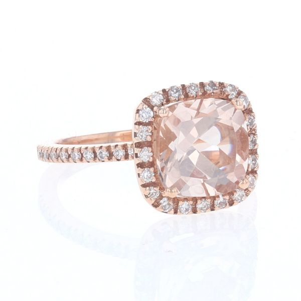 Morganite & Diamond Halo Ring Image 2 Fox Fine Jewelry Ventura, CA