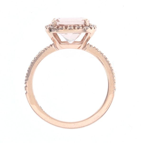 Morganite & Diamond Halo Ring Image 3 Fox Fine Jewelry Ventura, CA