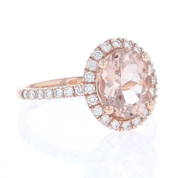 Oval Morganite & Diamond Halo Ring Image 2 Fox Fine Jewelry Ventura, CA