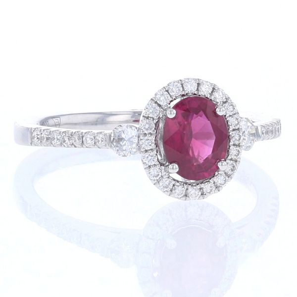 Oval Ruby & Diamond Halo Ring Image 2 Fox Fine Jewelry Ventura, CA