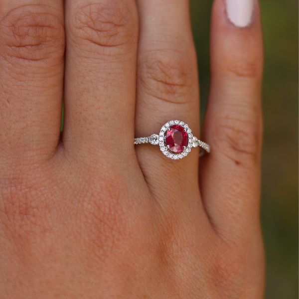 Oval Ruby & Diamond Halo Ring Image 4 Fox Fine Jewelry Ventura, CA