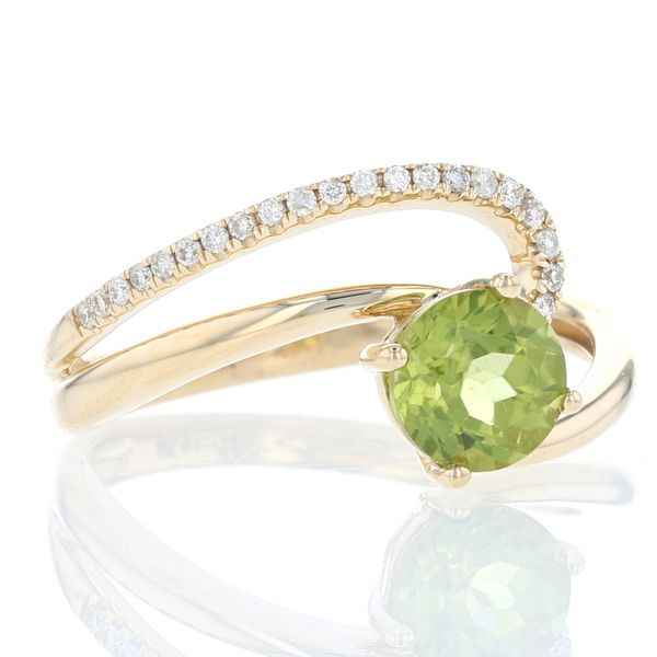 Peridot & Diamond Asymmetrical Swirl Ring Image 2 Fox Fine Jewelry Ventura, CA