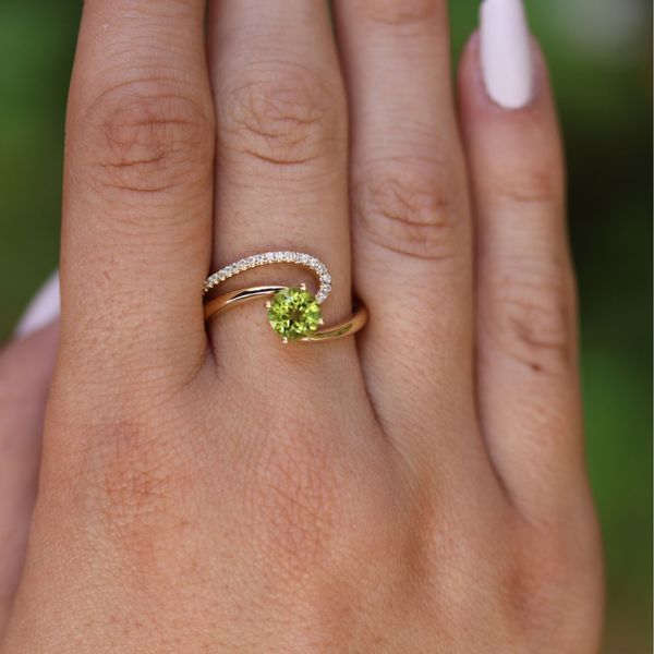 Peridot & Diamond Asymmetrical Swirl Ring Image 4 Fox Fine Jewelry Ventura, CA