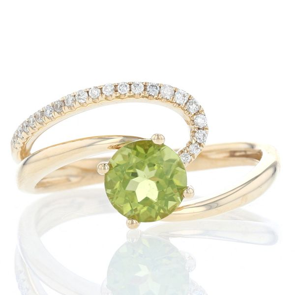 Peridot & Diamond Asymmetrical Swirl Ring Fox Fine Jewelry Ventura, CA