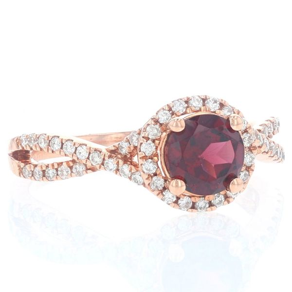Rhodolite Garnet & Diamond Halo Criss Cross Ring Image 2 Fox Fine Jewelry Ventura, CA