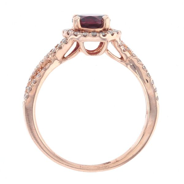 Rhodolite Garnet & Diamond Halo Criss Cross Ring Image 3 Fox Fine Jewelry Ventura, CA