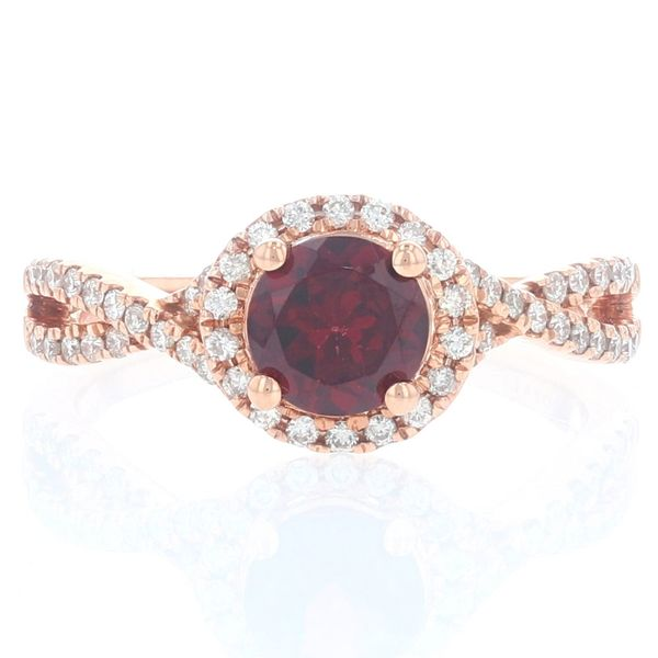 Rhodolite Garnet & Diamond Halo Criss Cross Ring Fox Fine Jewelry Ventura, CA