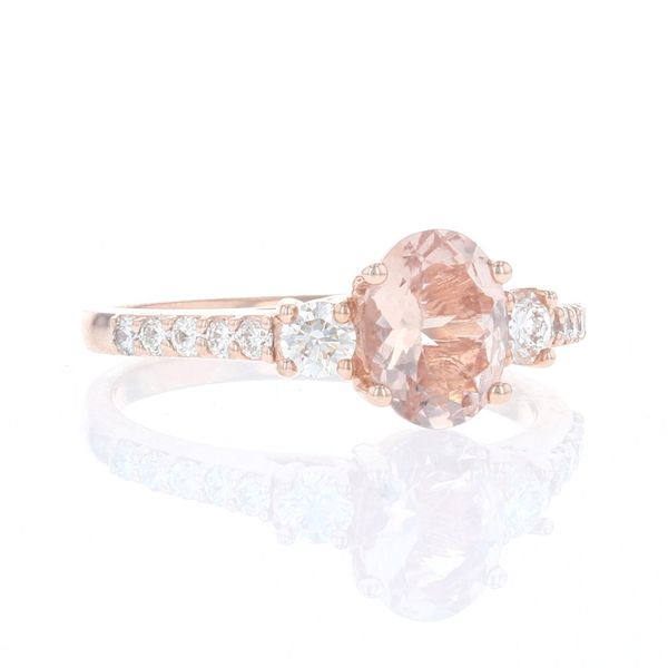 Oval Morganite & Diamond Ring Image 2 Fox Fine Jewelry Ventura, CA