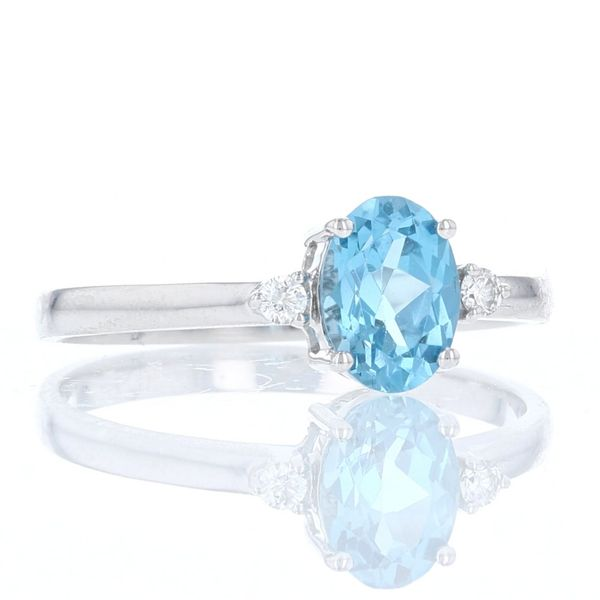 Simple Oval Blue Topaz & Diamond Ring Image 2 Fox Fine Jewelry Ventura, CA
