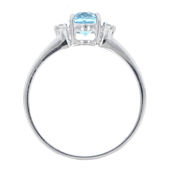 Simple Oval Blue Topaz & Diamond Ring Image 3 Fox Fine Jewelry Ventura, CA