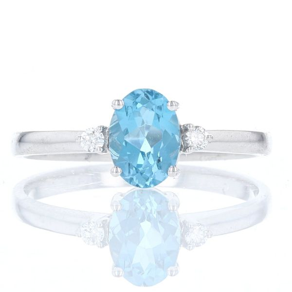 Simple Oval Blue Topaz & Diamond Ring Fox Fine Jewelry Ventura, CA